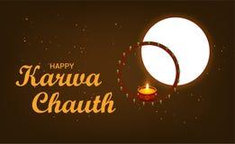 Karwa Chauth med den trevliga och idérika designillustrationen royaltyfri illustrationer