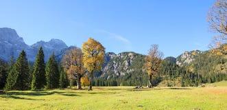 Karwendel dolina, austriacki jesień krajobraz fotografia stock