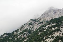 The Karwendel mountain viewed from Mittenwald, Germany stock images