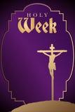 Karwoche - Schattenbild der Kreuzigung von Christus auf purpurrotem Hintergrund Stockbilder