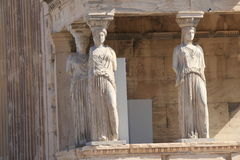 Karyatides bij de Akropolis in Athene Griekenland Royalty-vrije Stock Foto's