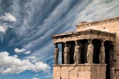 Karyatides, Erehtheio, à l'Acropole de la ville d'Athènes photos libres de droits