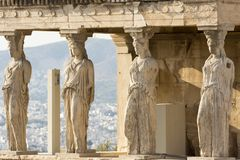 The karyatides statues. Karyatides statues inside acropolis, athens, greece stock photography