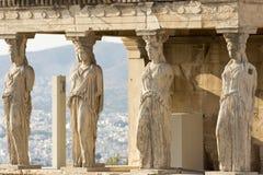 The karyatides statues stock photography