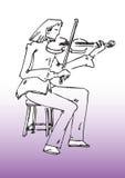 Karykatura żeńska skrzypaczka Obrazy Stock