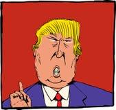 Karykatura Donald atut nad czerwienią Zdjęcie Royalty Free