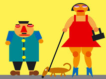 Karykatura mężczyzna i kobieta Fotografia Royalty Free