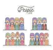Karykatury ciała kobiet przyrodni ludzie wykładają z differents fryzurą ustawiającą na białym tle Obraz Stock