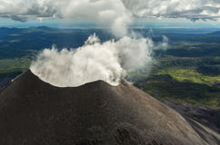 Karymsky is an active stratovolcano. Kronotsky Nature Reserve on Kamchatka Peninsula. Stock Image