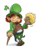 Karzeł z piwem. Ilustracja dla świętego Patricks dnia. Fotografia Royalty Free