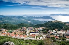 Kas,省安塔利亚,土耳其- 2015年9月28日:市和港土耳其的地中海海岸的Kash 免版税库存图片