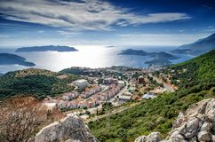 Kas,省安塔利亚,土耳其- 2015年9月28日:市和港土耳其的地中海海岸的Kash 免版税库存照片