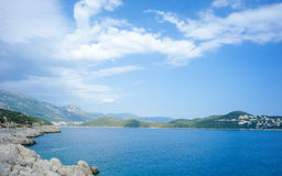 Kas Peninsula and Road D400 under Cloudy Sky Stock Image