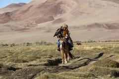 Kasachischer Eagle Hunter Berkutchi mit Pferd bei der Jagd zu den Hasen mit von Steinadlern auf seinen Armen Lizenzfreies Stockfoto