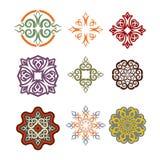 Kasachischer Verzierungssatz Elemente Ethnisches Muster Kasachstan-nati lizenzfreie abbildung