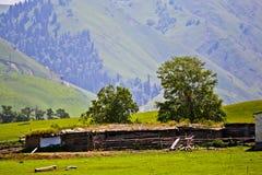 Kasachisches traditionelles Häuschen und die Falte Lizenzfreie Stockfotos