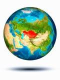 Kasachstan auf Erde mit weißem Hintergrund Lizenzfreies Stockbild