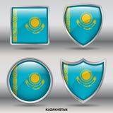 Kasachstan-Flagge in der Sammlung mit 4 Formen mit Beschneidungspfad Lizenzfreies Stockbild