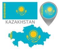 Kasachstan-Flagge, Karte und Kartenzeiger vektor abbildung