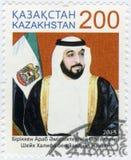 KASACHSTAN - 2015: Shows Khalifa-bin Zayed-bin Sultan Al Nahyan geboren 1948, Politiker Lizenzfreie Stockfotos