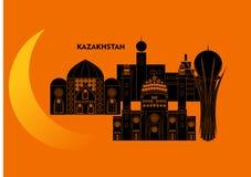 Kasakhstan och måne Arkivbilder