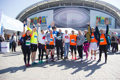 KASAN, RUSSLAND - 15. MAI 2016: Marathon - Läuferteilnehmer am Anfang Lizenzfreie Stockfotografie