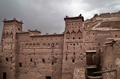The Kasbah Ait ben haddou. In Morocco on a cloudy day Royalty Free Stock Images