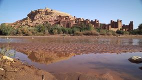 Kasbah Ait Ben Haddou in the Atlas Mountains,. Morocco stock footage