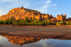 Kasbah Ait Ben Haddou in the Atlas mountains of Morocco at sunse Royalty Free Stock Images