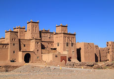 Kasbah, Dades Valley, Morocco. Morocco, Ouarzazate district, Skoura, Amridil Kasbah, towers with Berber geometrical symbols. The kasbah is depicted in Morocco's royalty free stock image