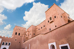 Kasbah de Taourirt with blue sky and cloud Royalty Free Stock Photography