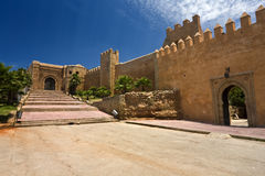 The Kasbah des Oudaias. Morocco. Rabat. The Kasbah des Oudaias - the south-west part of fortified wall with the Almohad gate Bab Oudaia Stock Photo