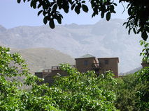 Kasbah du Toubkal. This is a summer view of the beautiful Kasbah du Toubkal in above Imlil in the High Atlas Mountains one hour from Marrakech in Morocco. It Royalty Free Stock Image