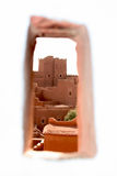 Kasbah from hole Royalty Free Stock Photos
