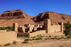 Kasbah located close to Atlas mountains at Morocco. Morocco Royalty Free Stock Photos