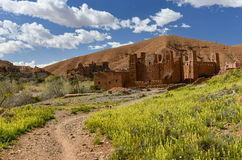 Kasbah, Morocco landscape. Kasbah (fortified palace) and ksar (village fortified by high mudbrick walls) in the Valley of the Dades river, Morocco Stock Photos