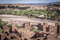 Kasbah and Oasis. Oasis near in Ait Benhaddou Kasbah Stock Photos
