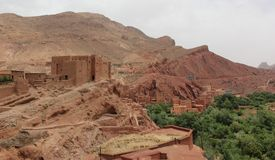 Kasbah. A Kasbah overlooking a village in Gorge du Dades, Morocco Stock Photos