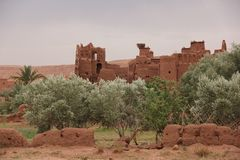 Kasbah. Part of one of the Kasbah sticking out above the greenery at Ait Ben Haddou, Morocco Royalty Free Stock Photo