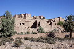 Kasbah Taourirt with clear blue sky. Royalty Free Stock Photography