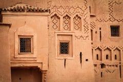 Kasbah Taourirt Detaljfasad Ouarzazate morocco Royaltyfri Bild