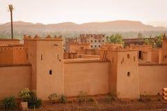 Kasbah Taourirt på solnedgången Ouarzazate morocco Arkivfoto