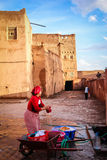Kasbah Taourirt. woman laundering. Ouarzazate. Morocco. Stock Photography
