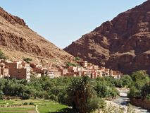 Kasbah in Todra Gorge, Morocco. Kasbah town along the road through Todra Gorge in Morocco royalty free stock photography