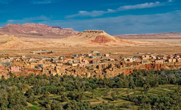Kasbah town and oasis in atlas mountains,morocco royalty free stock photo