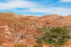 Kasbah, Traditional berber clay settlement in Sahara desert, Morocco. Traditional berber clay settlement in Sahara desert, Morocco Royalty Free Stock Image