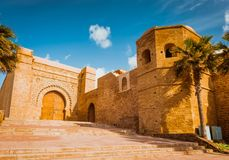 Kasbah of Udayas fortress in Rabat Morocco. Kasbah Udayas is ancient attraction of Rabat Morocco stock photography