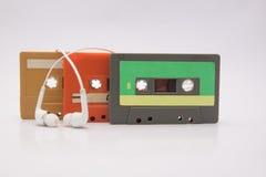 Kaset słuchawki i taśma Zdjęcie Stock