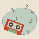 Kaseta z muzykalnymi notatkami i przestrzenią ilustracji