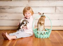 Kash ed i coniglietti di pasqua fotografie stock